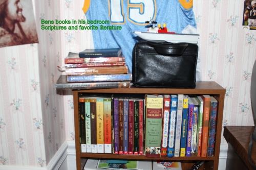 Bens books in his bedroom