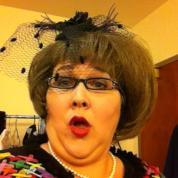 Mrs Luce in the dressings room
